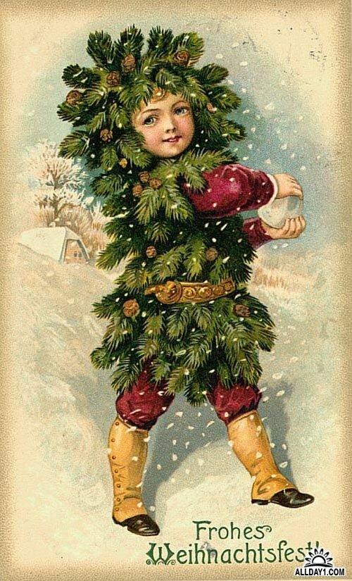 Открытка дети и новый год, триде своими