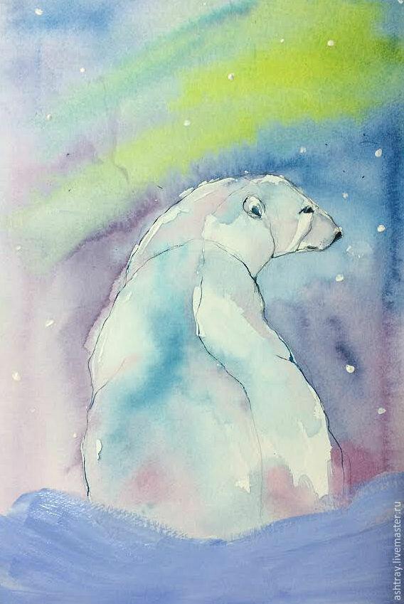 Картинки белые медведи северное сияние мультяшные, танюша