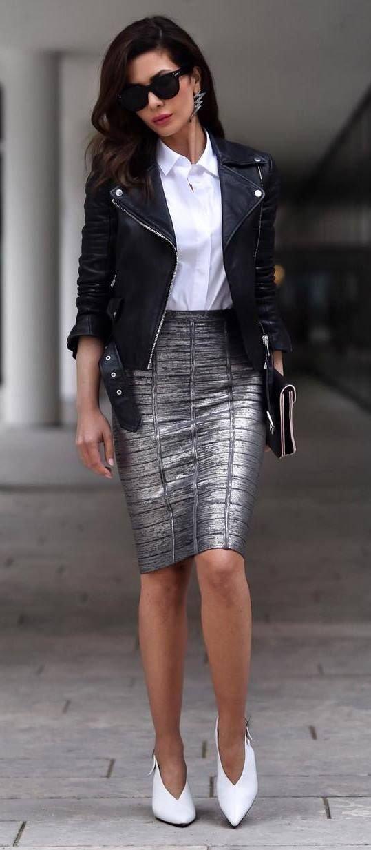 f91fd8b604a C чем носить юбку цвета металлик  33 блестящих образа Trendy ...
