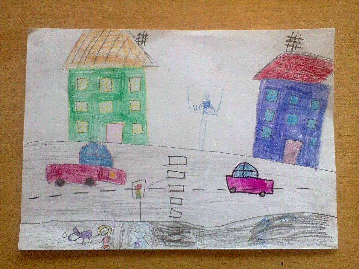 рисунок на тему моя улица пятна начинают