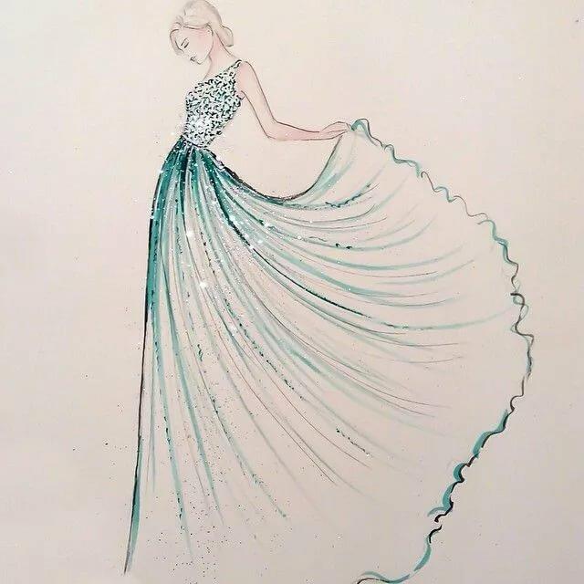 Девушки в платьях рисовать