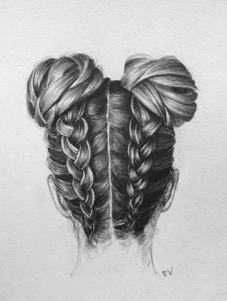 Красивые картинки волос карандашом