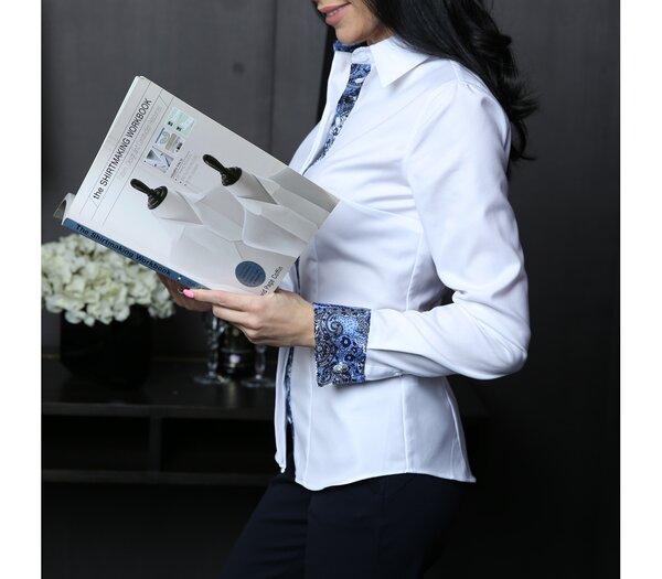 b1c2b1a785f Приталенная женская рубашка под запонку белого цвета с яркой контрастной  отделкой из 100 % сто процентного