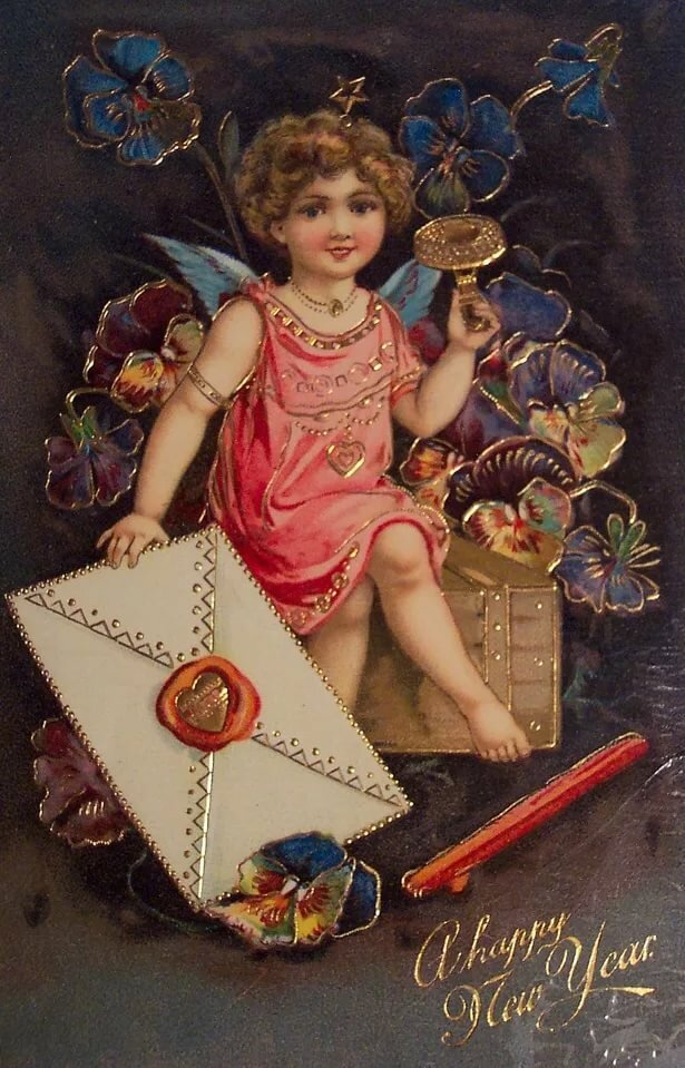 18 век открытка на новый год, декупажа старинные открытки