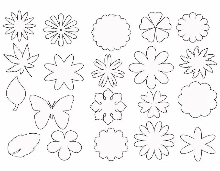 Шаблоны объемных цветов для открытки
