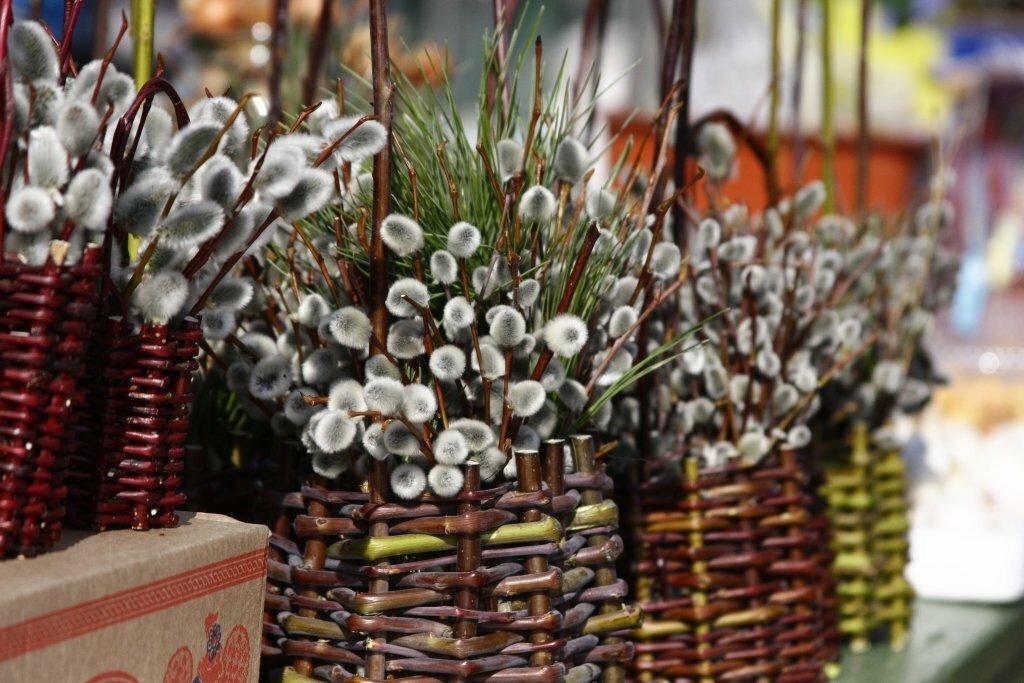 Букет из пальмовой веточки в храме, цветы подарить