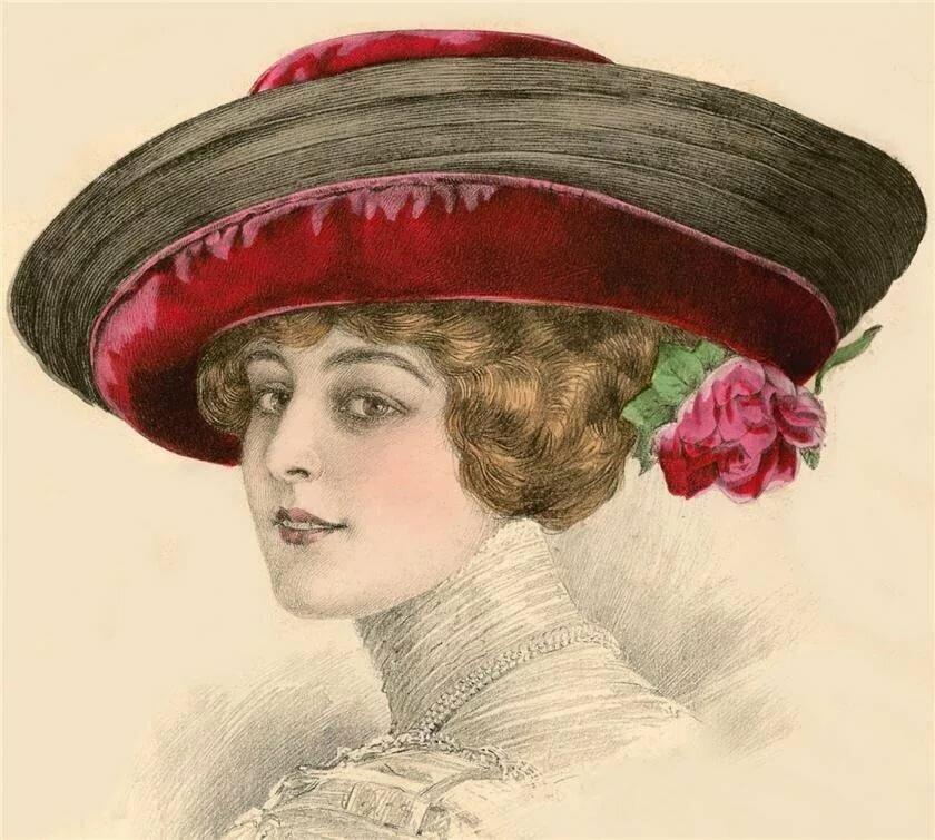 Картинки дамы в старинных шляпках