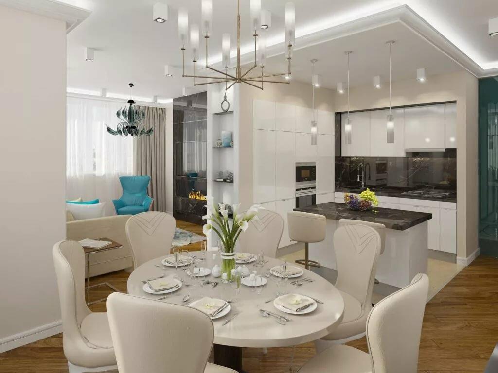 Интерьер гостиной и кухни по картинками