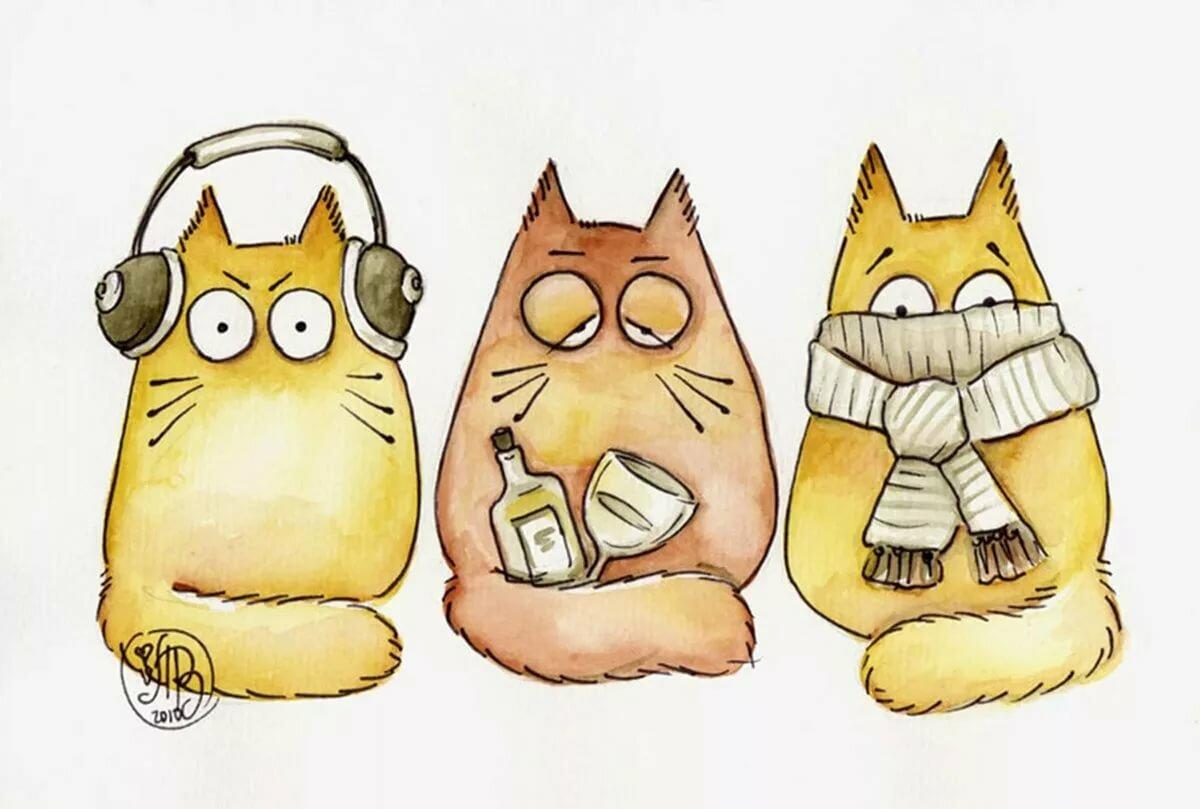 как рисовать смешных котов рисунки старше