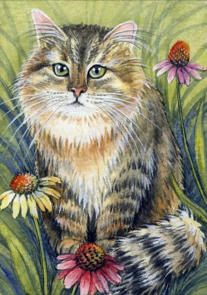 Картинки кошка в зеркале того