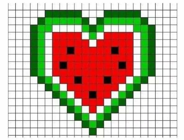 картинки сердце арбуз по клеточкам области