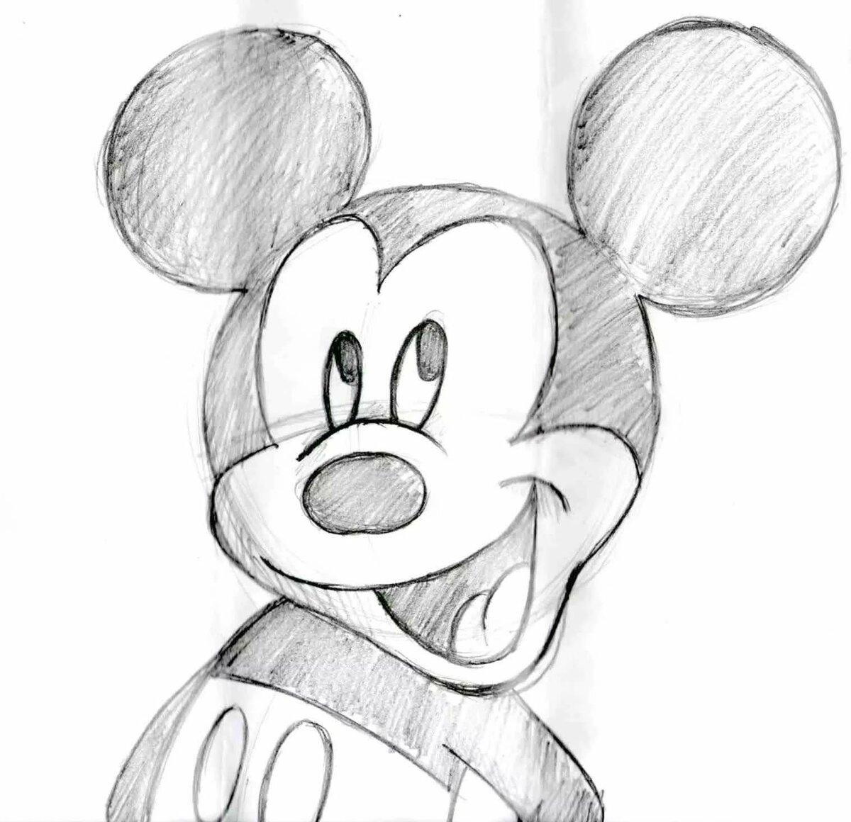 рисунки карандашом микки маус ведь
