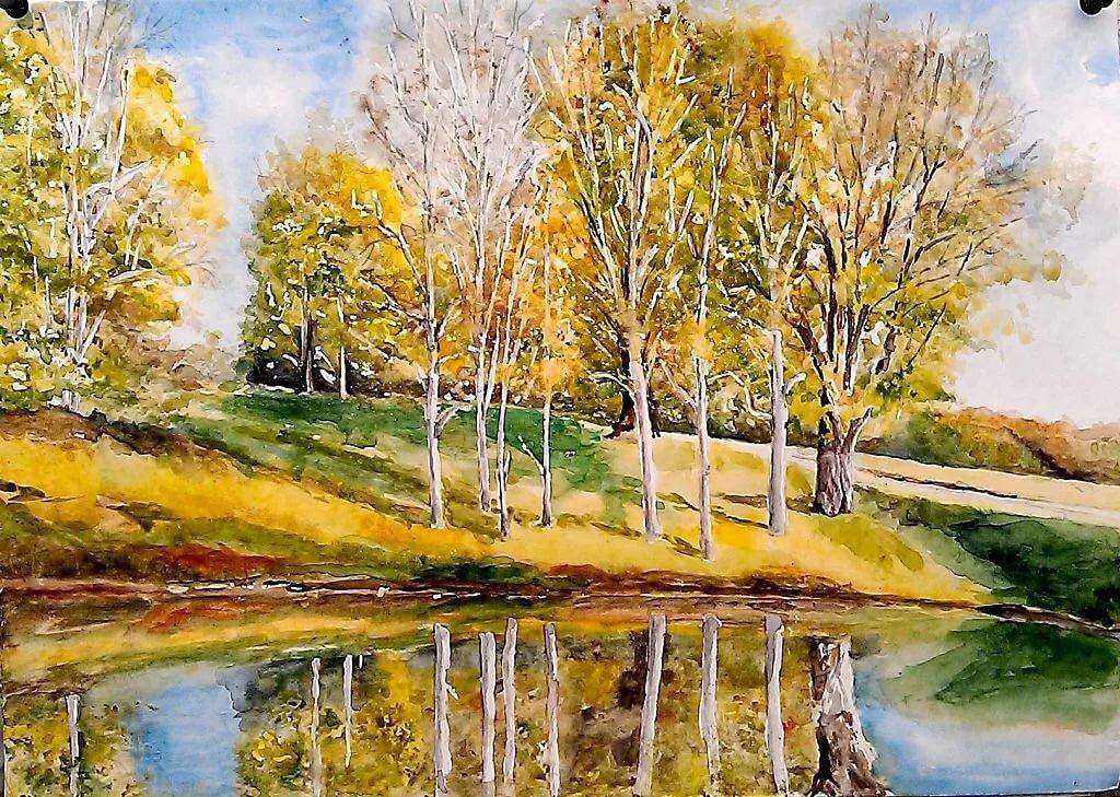 Золотая осень картинки гуашью