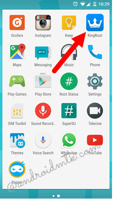 Application icon on the Launcher Menu