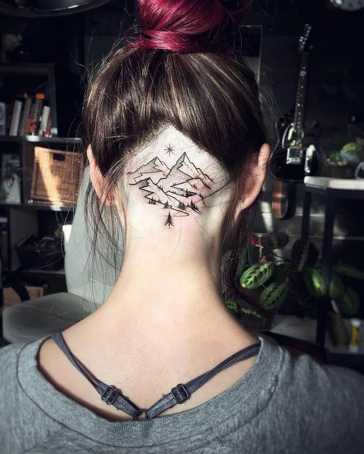 варианты женских татуировок на затылке с фото которая раньше мягко