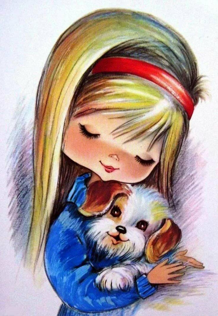 Годиком, картинки девушка с собачкой рисованные
