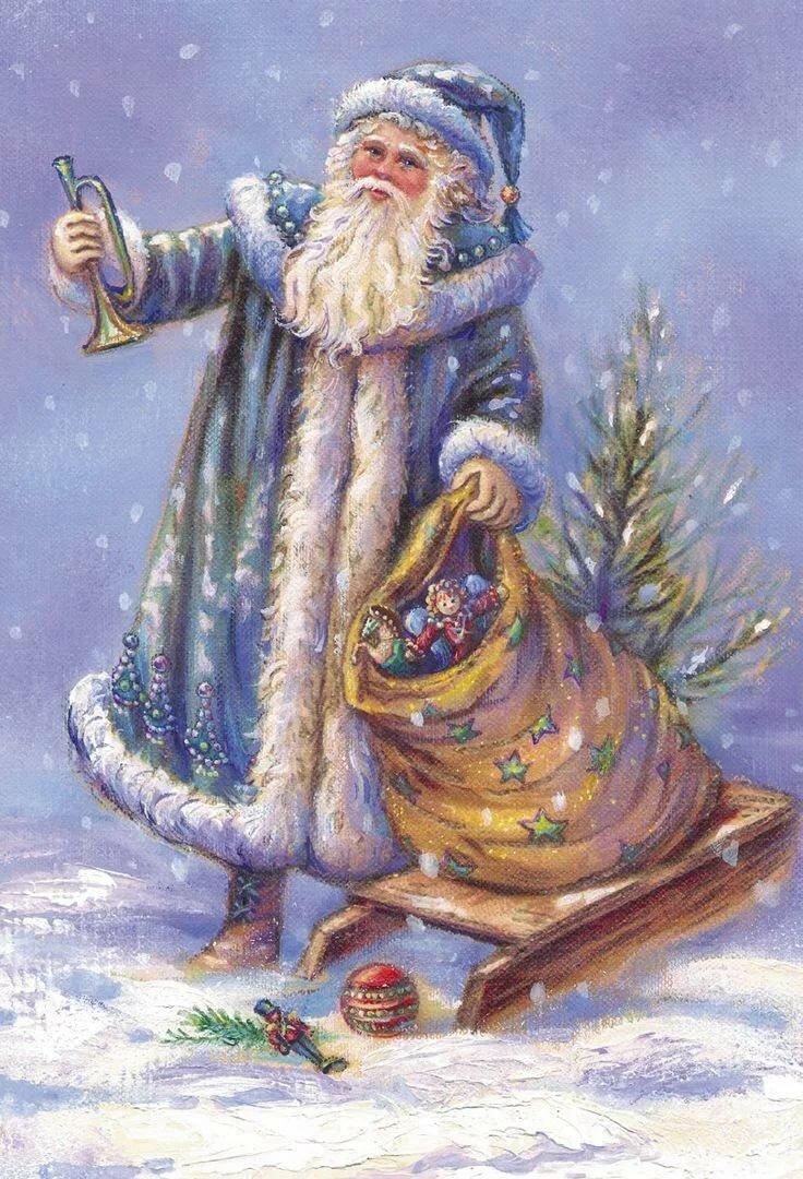 Открытка с дед морозом в синей шубе, новым годом восточному