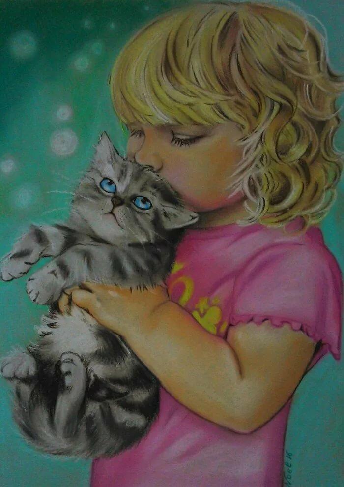 Красивые картинки девочка с котенком