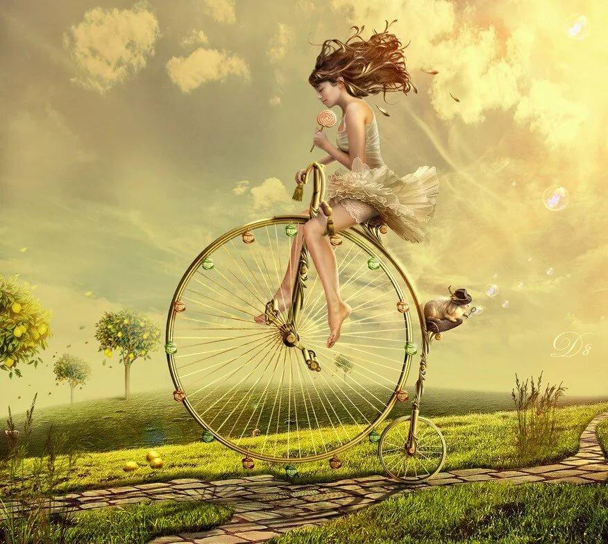Открытка девушка на велосипеде, медали