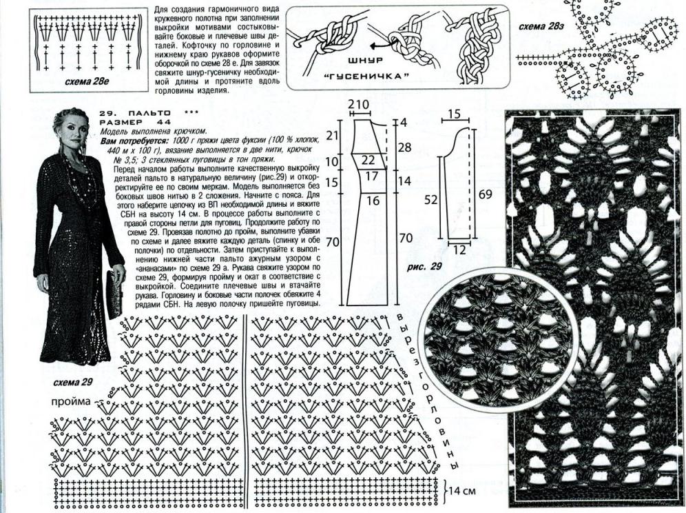 Картинки и схемы вязания крючком пальто