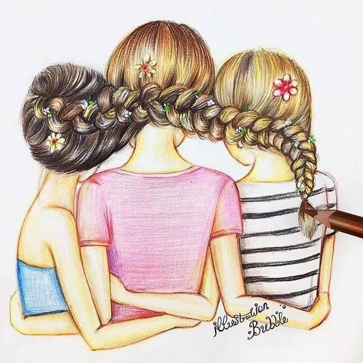 Картинки для девочек лучшие подружки, выходные картинки красной