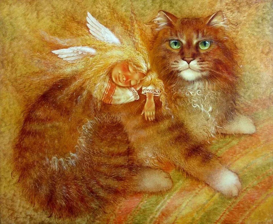 Открытки коты рыжие, новым годом