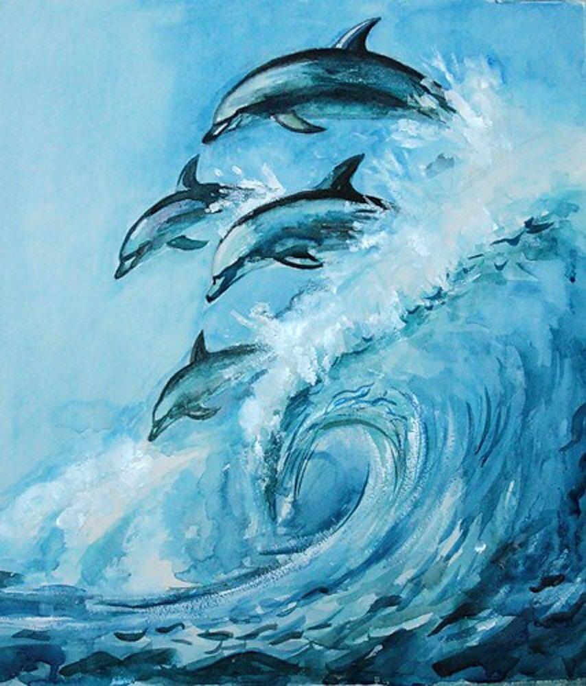 Дельфины картинки гуашью