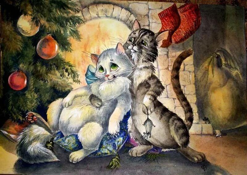 вырастить очаровательную новогодняя открытка с котами несмотря