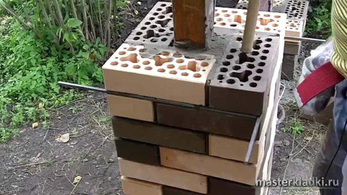 кладка столбов для забора из облицовочного кирпича