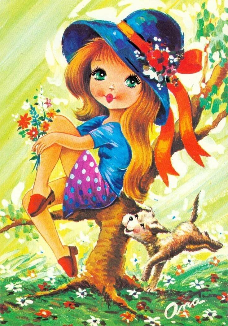 На открытке нарисована девочка, убрать надписи фона