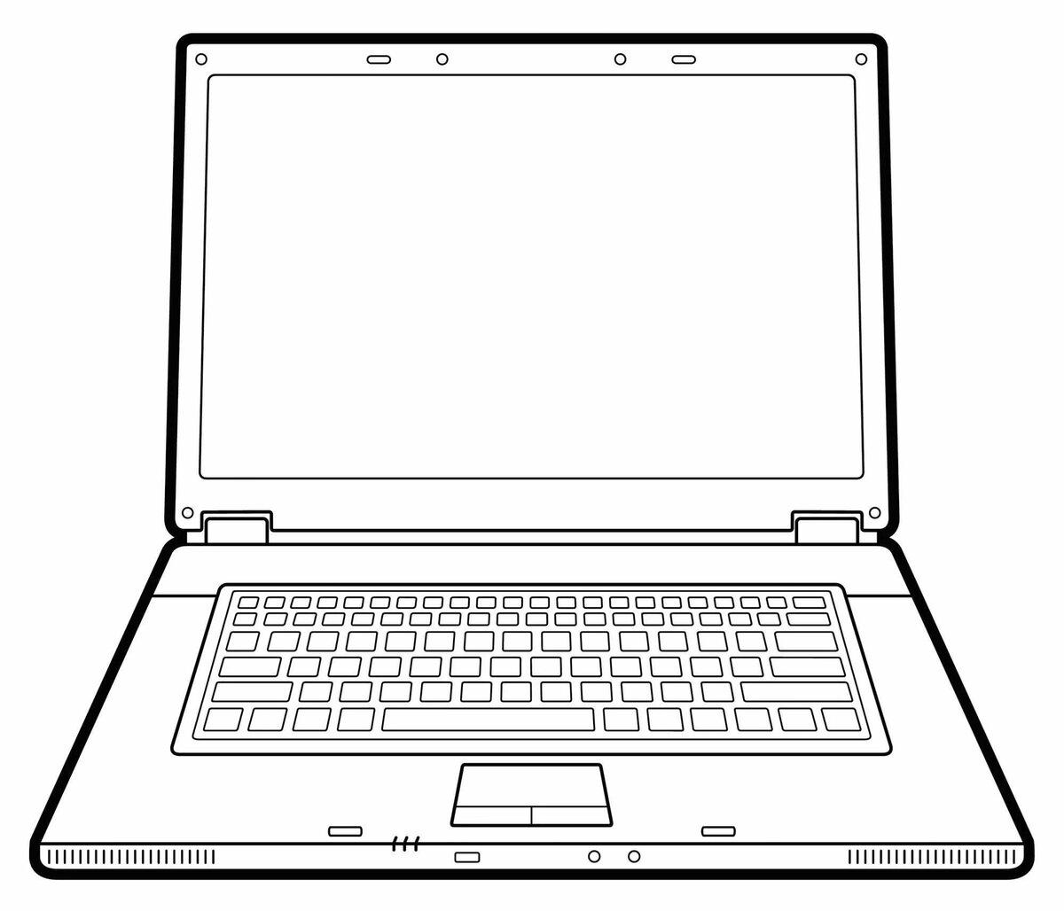 Черно белый рисунок ноутбука