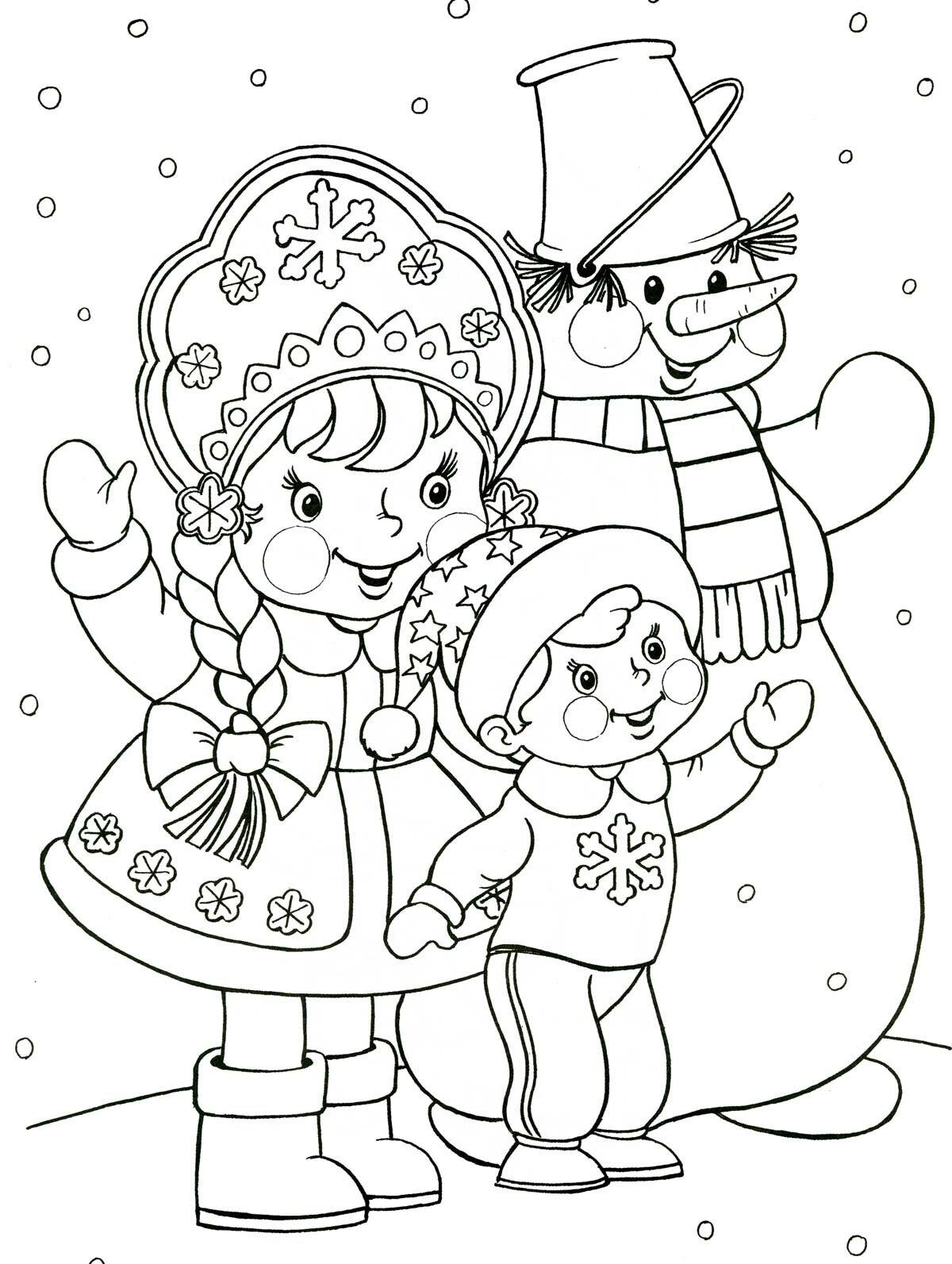 Картинки-раскраски новый год для детей распечатать