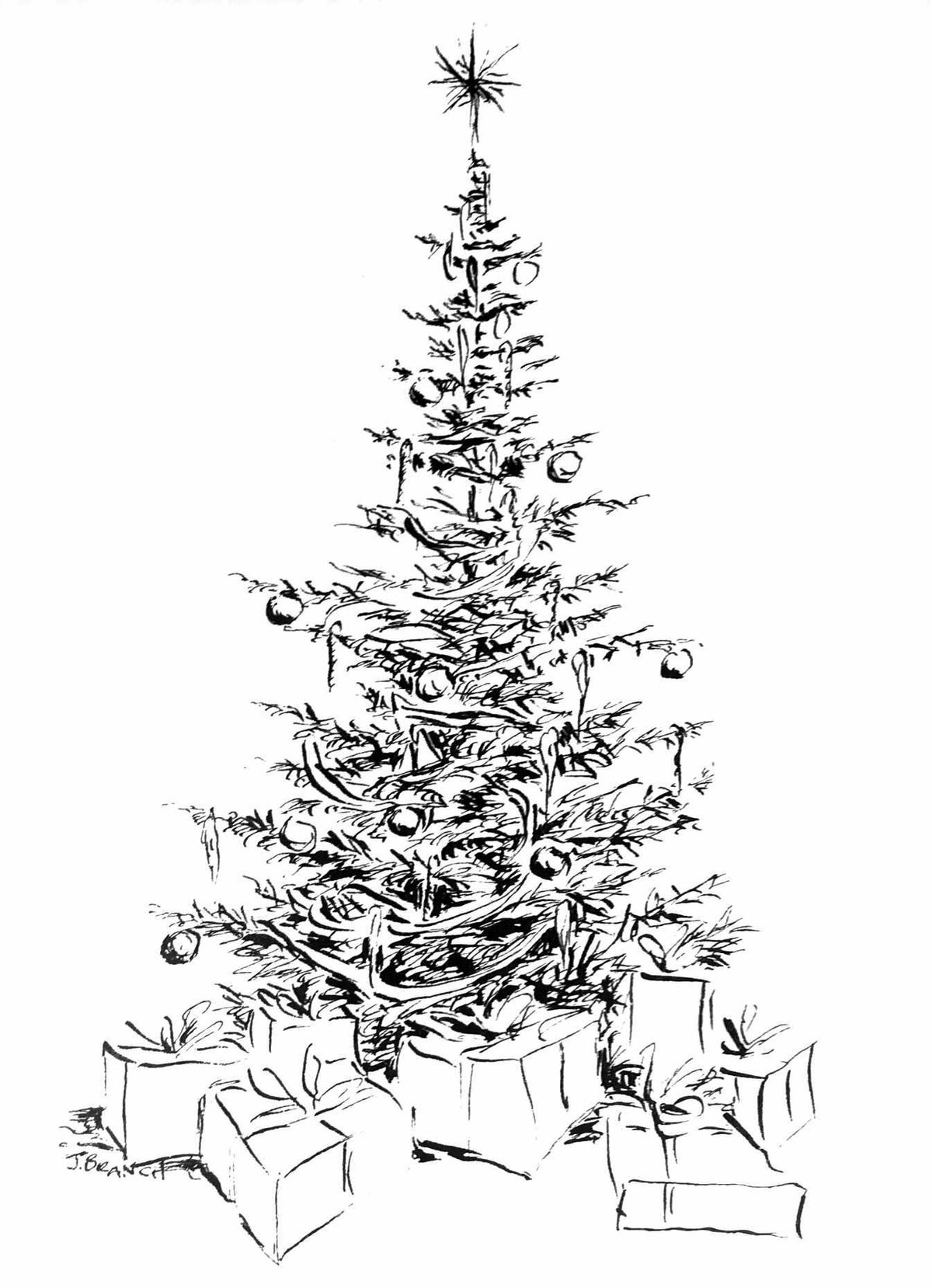 Картинка елка новогодняя в графике ней