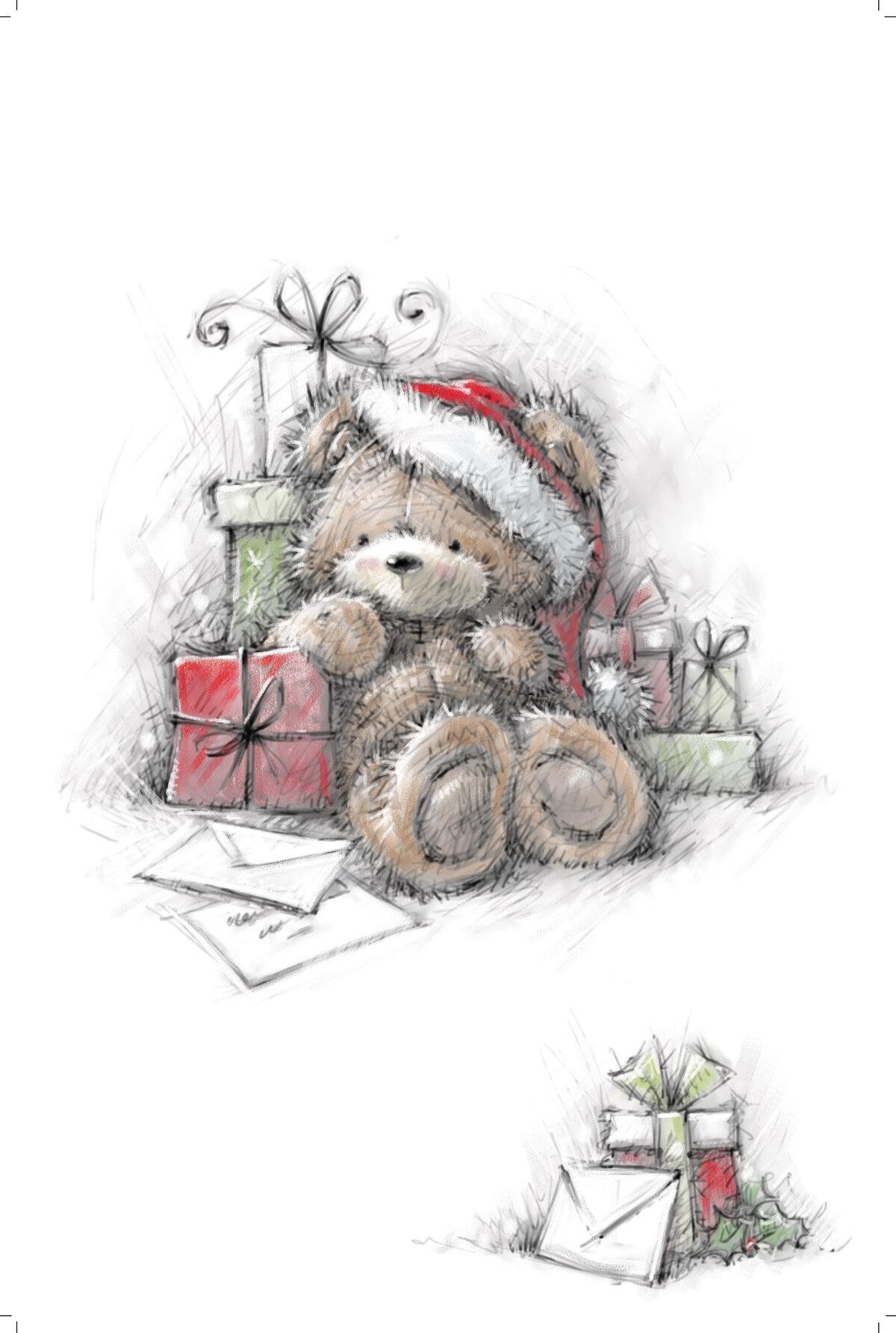 Открытки на новый год мишка