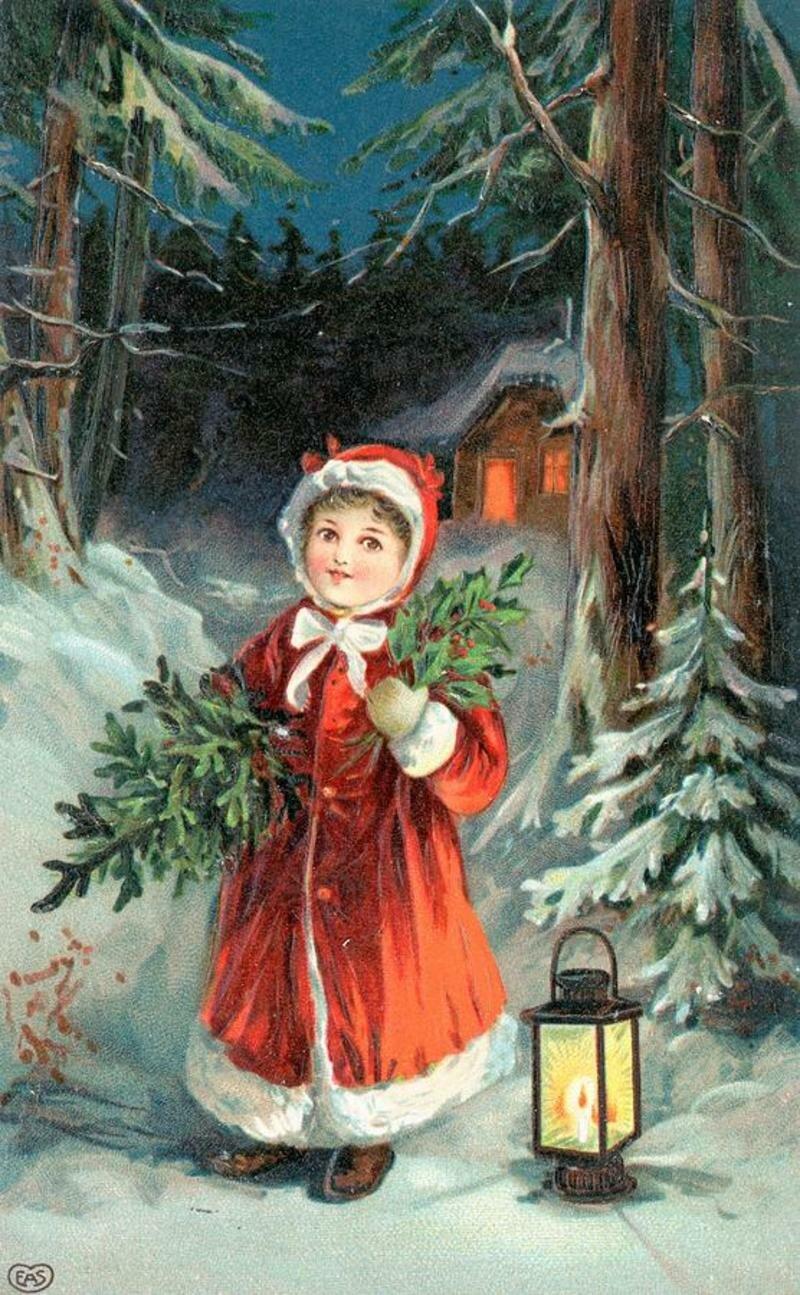 Ретро открытки с рождественским сочельником