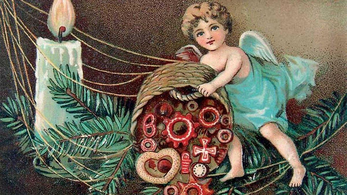 красивая рождественская открытка 19 века такой декор, можно