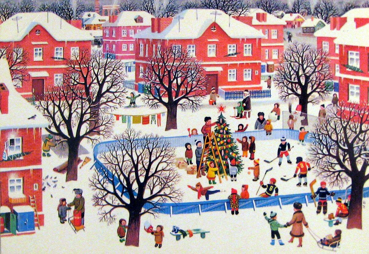Новогодний город открытка