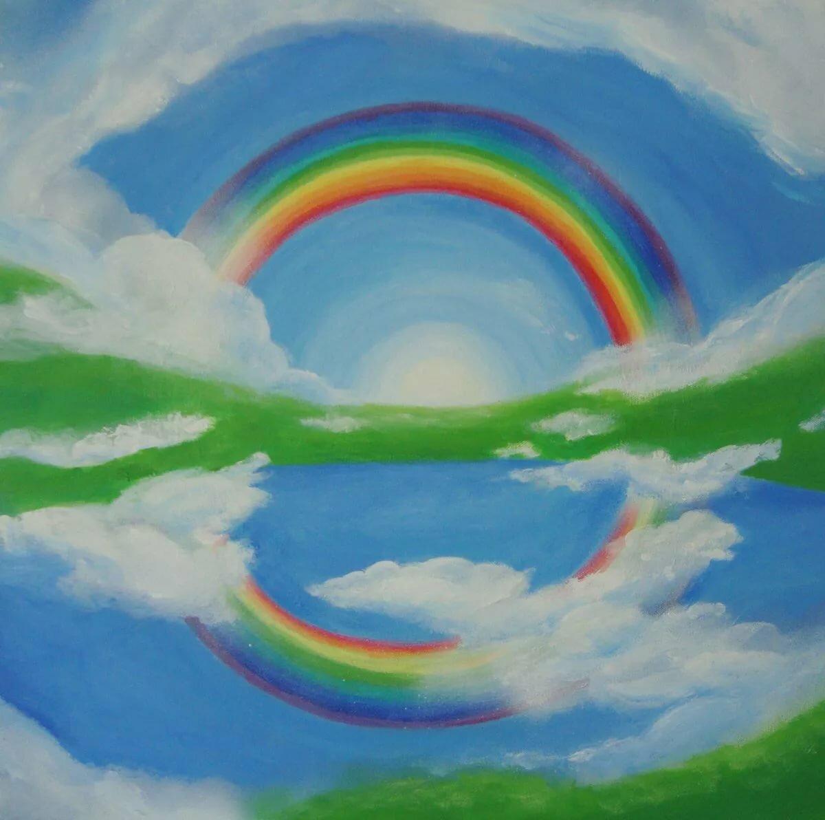 нему заварной художник рисует радугу картинка черно-белая фотография