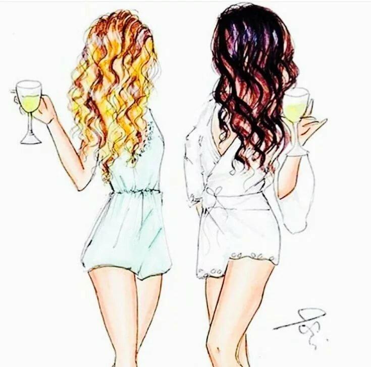 Две подруги рисунок