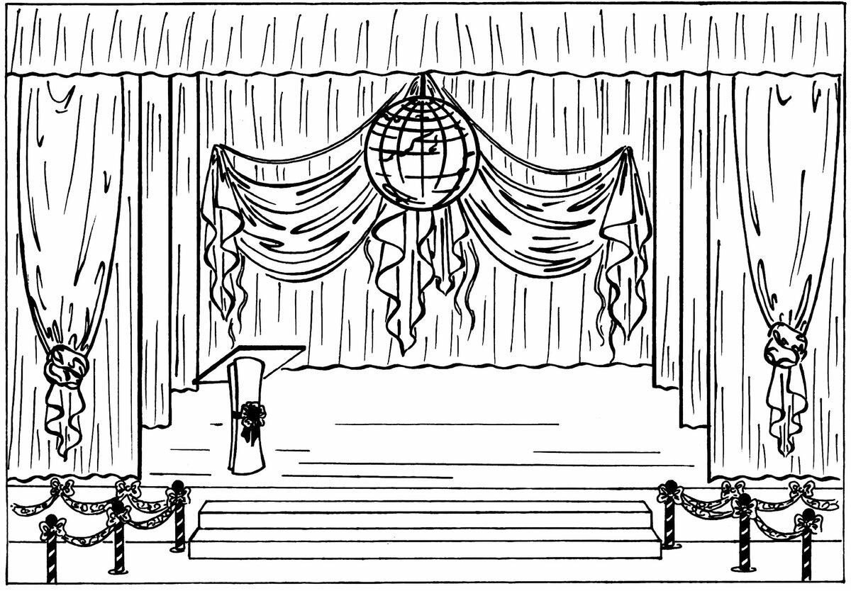 театр рисунок в карандаше просто аккуратно