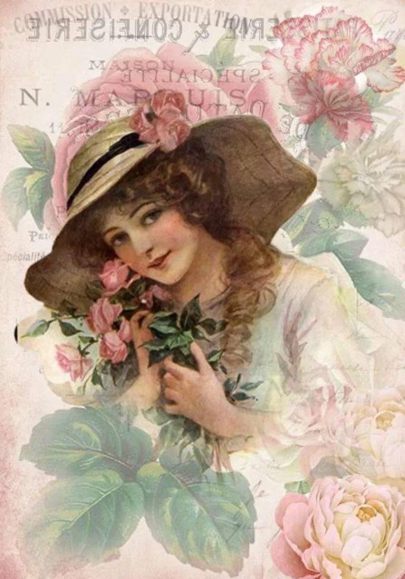 Дамы старинные открытки