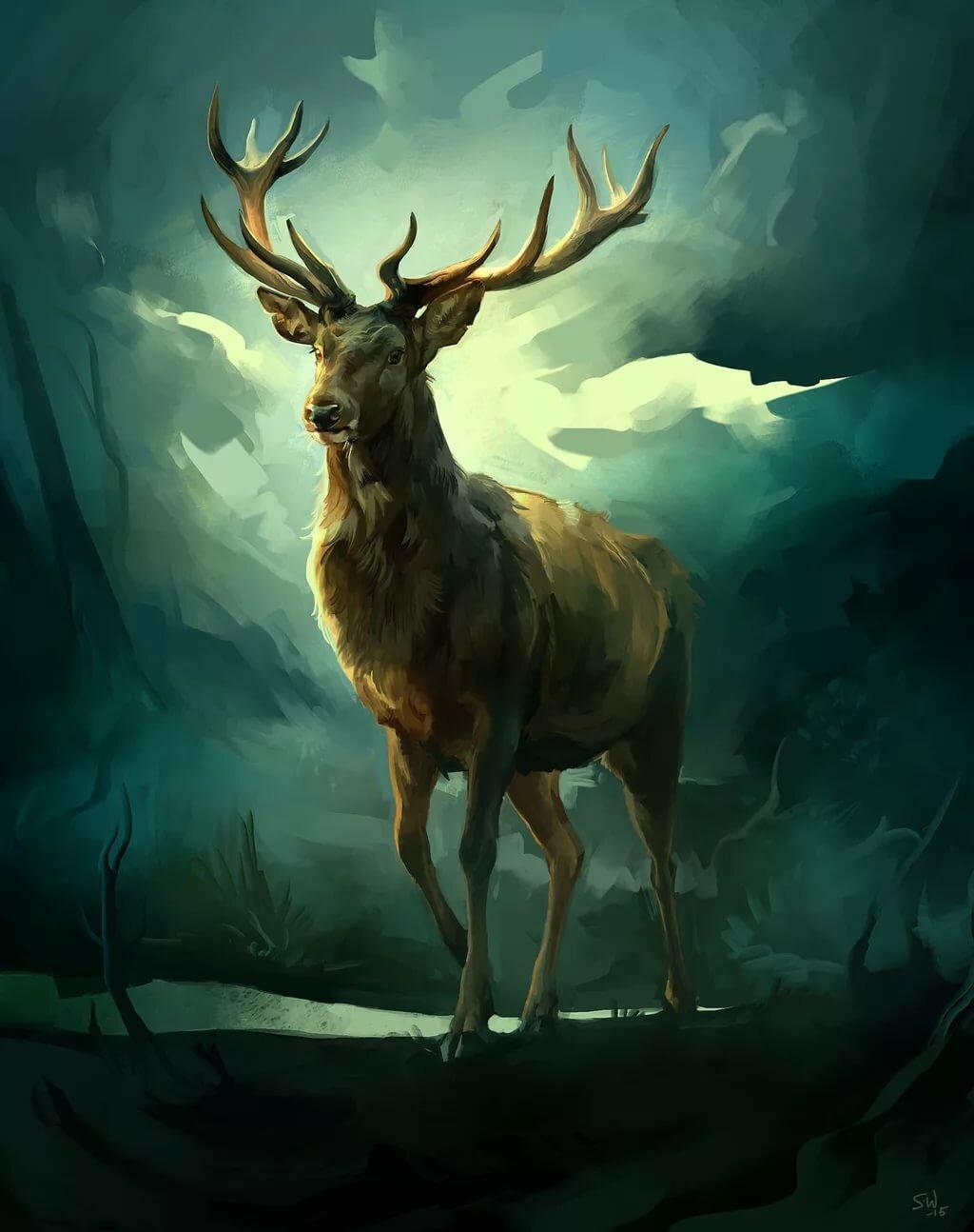 Мифическая картина с оленем