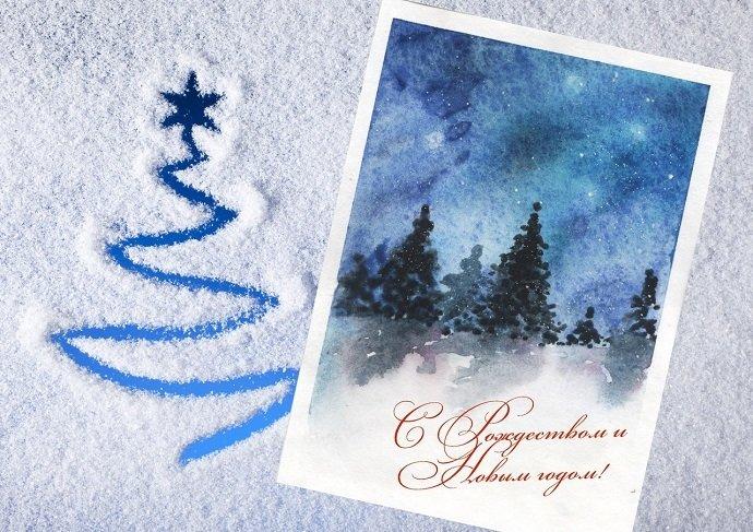Как нарисовать новогоднюю открытку своими руками в домашних условиях, открытки день