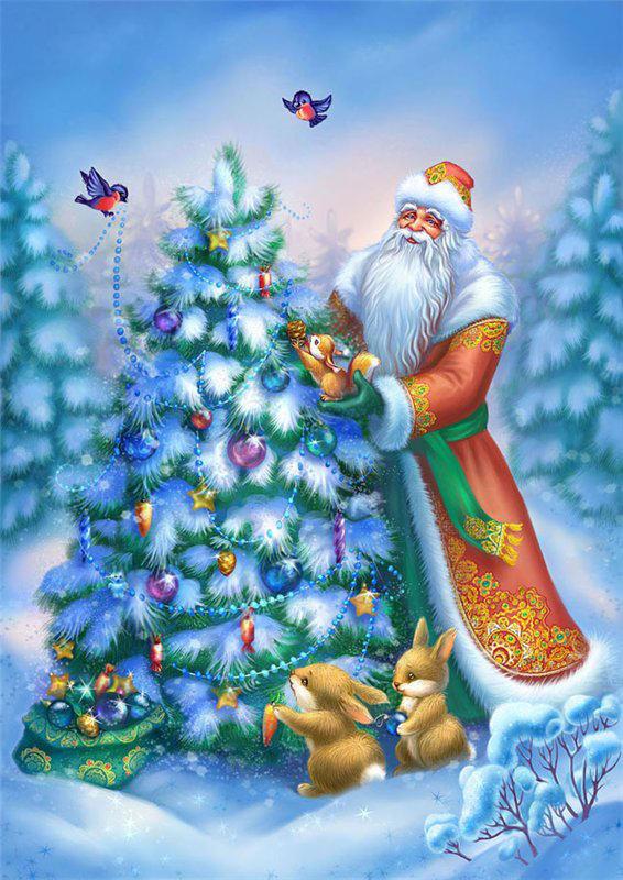 Днем, дед мороз и елка картинки детей 6-7