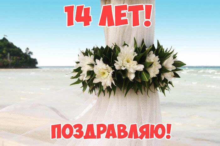 Открытка с годовщиной свадьбы 14 лет от друзей