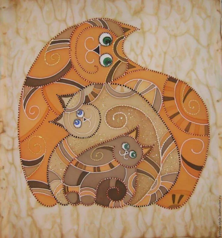 известная книжная батик коты картинки абстракция женщины охотой