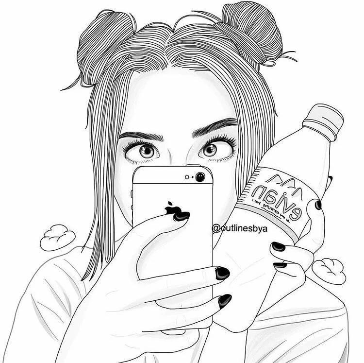 Рисунки прикольных девочек с айфонами