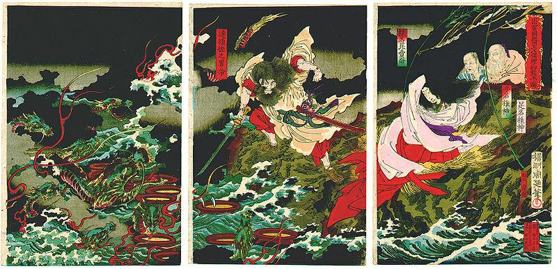 Битва Сусаноо с Яматой-но-Ороти (художник Тоёхара Тиканобу)