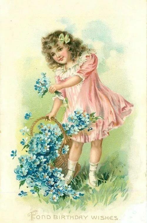 Винтажные открытки с днем рождения детям