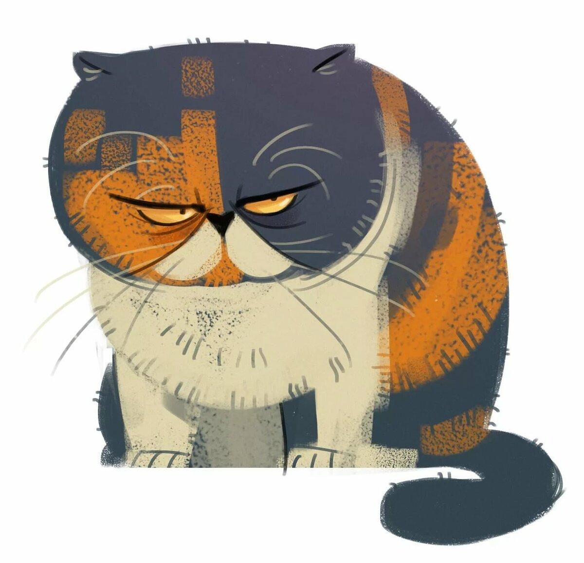 Смешной толстый кот рисунок, знаний класс